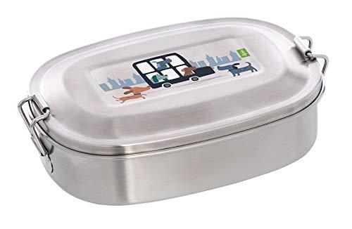 Sigikid Green Lunchbox Brotdose Hund mit Klickverschluss aus Edelstahl 17 x 9 x 5 cm