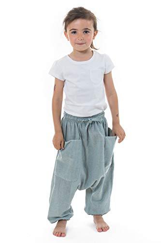 FANTAZIA Sarouel Pantalon Enfant Coton Leger Ilam - Taille S au XXXL - 100% Coton - Gris - Estival - Confortable & Original - Créé en France, Fabrication Ethique Depuis 2004 - Harem Pants