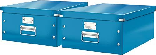 Leitz, Große Aufbewahrungs- und Transportbox, Mit Deckel, Für A3, Click & Store (Blau | 2er Pack)