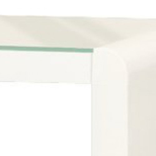 Phoenix Side Table, Wood White High Gloss Finish, 35x42.7x42.7 cm