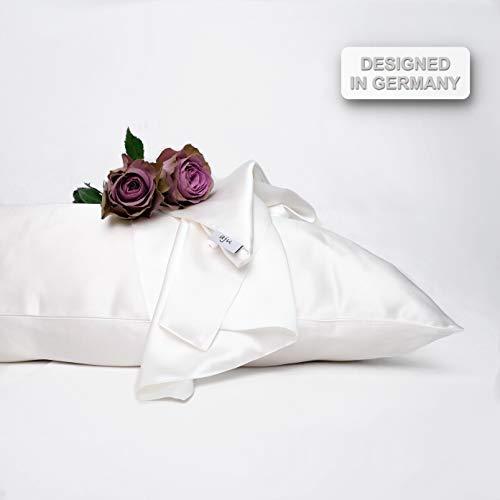 aju - Seidenkissenbezug (40x80cm) in Glänzend Weiß, 1 Stück, Seide Kissenbezug Designed in Germany, Beidseitig 100% Seide, 19 Momme