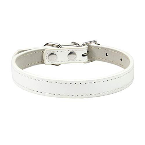 LWXFXBH Collar ajustable para mascotas Collar de gato y perro Collar de cuero para mascotas (color: blanco, tamaño: 1.0S)