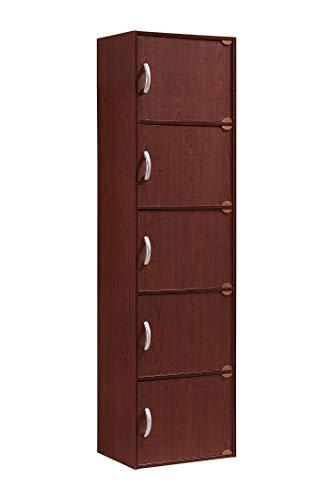 Hodedah 5-Shelf, 5-Door Multipurpose Cabinet, Multiple Colors (.A Mahogany)