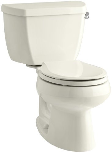 Kohler K-3577-TR-96 Wellworth Classic 1.28gpf Round-Front Toilet with Class Five Flushing Technology and Right-Hand Trip Lever with Tank Locks, Biscuit