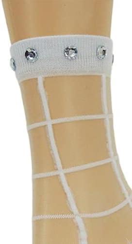 Calm White Square Sheer Socks,,100% Nylon Sheer Socks - Breathable and Lightweight Summer Ankle Socks for Women, Custom Socks with Beads