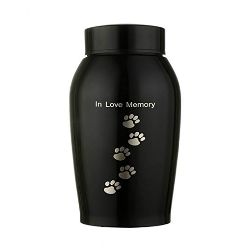 Sendley Gold/Black Edelstahl Urnen Haustiere Hund Katze Vögel Maus Cremation Asche Urne AufbewahrungsSchatulle Columbarium Haustiere Memorials (500ML Footprint)