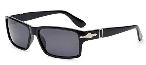 KIRALOVE Gafas de sol James Bond para hombre - niño - polarizadas - clásicas - montura rectangular negra mate - lente negra