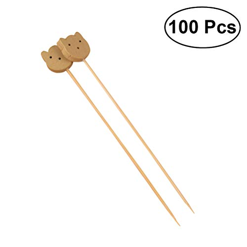 DOITOOL Dessert Forks 100 Pack Cocktail Picks 4.7 Inch Fruit Sticks Bear Top Bamboo Toothpicks for Wedding Birthday Party Supplies