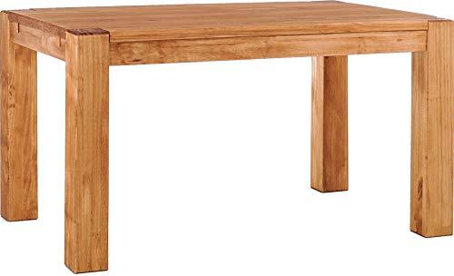 Brasilmöbel Esstisch Rio Kanto 140x90 cm Honig Pinie Massivholz Größe und Farbe wählbar Esszimmertisch Küchentisch Holztisch Echtholz vorgerichtet für Ansteckplatten Tisch ausziehbar