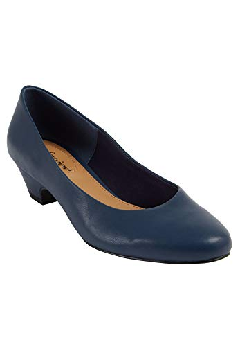 Comfortview Women's Wide Width The Vida Pump Heeled Shoes - 10 1/2WW, Navy