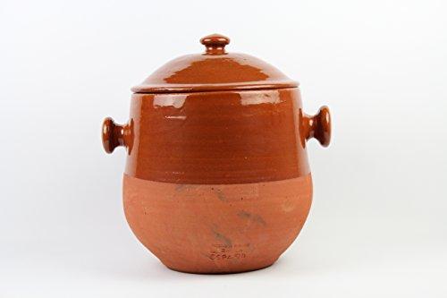 Olla de barro, hecha a mano tradicionalmente, 5litros, con 2 asas y tapa. 4,2 kgTotalmente artesanal.