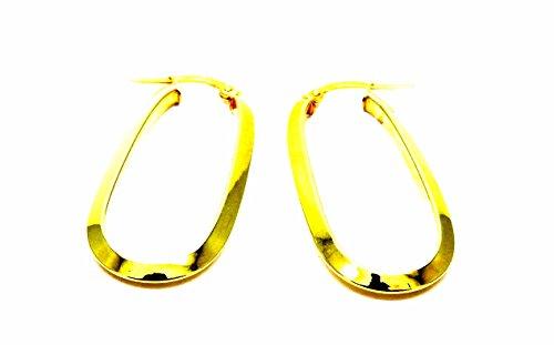 Pendientes oro amarillo 18kt anillas círculos ovales largos–Mujer Niña