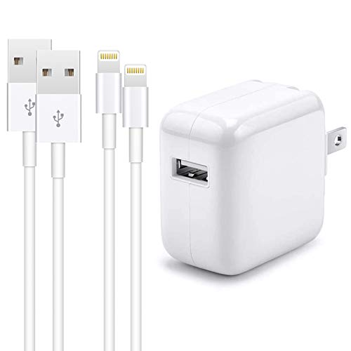 iPhone Charger iPad Charger,【Apple MFi Certified】2.4A 12W USB Wall Charger Foldable Portable Travel Plug with 2-Pack Lightning to USB Cable (6.6FT) Compatible with iPhone, iPad, iPod, Airpods and more. Buy it now for 16.50