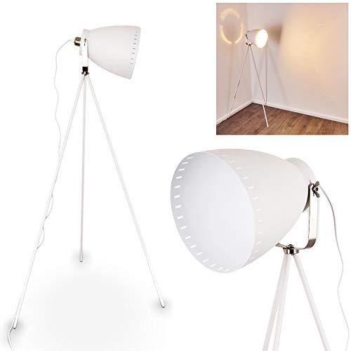 Lampe à pied Tanhua en métal blanc/nickel mat - Lampadaire pour salon - chambre à coucher - bureau - cette lampe a un interrupteur à pied sur le câble