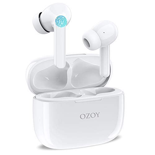 Écouteurs Bluetooth 5.1 sans Fil à Réduction Active du Bruit, IPX6 Intra-Auriculaires avec Autonomie 30h, USB-C Charge Rapide, Micro Intégrés, Stéréo Oreillettes pour Android iOS Portable PC TV Blanc