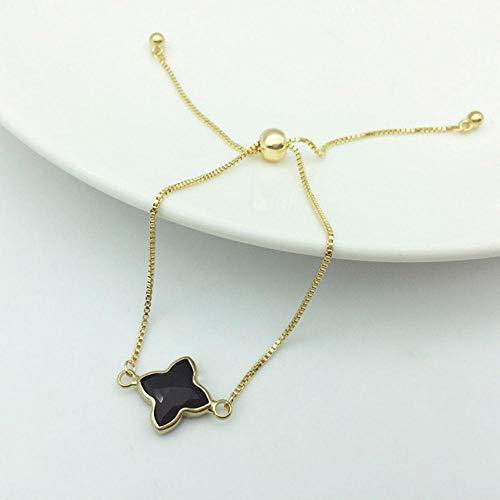 Qingsb Trendy Boheemse Koreaanse Stijl Verstelbare Lucky Lady Armband Met Kristalsteen Klavertje Vier Armband Sieraden Lovera, zwart, 24,5 cm