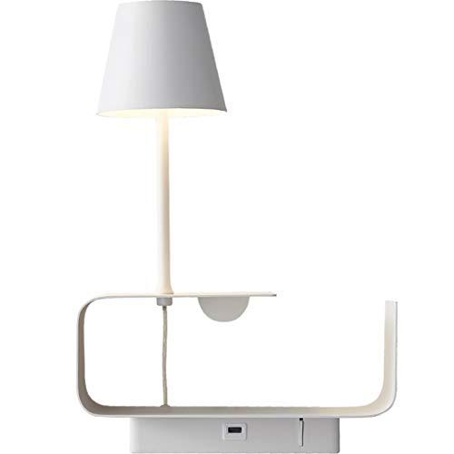 Lámpara de Pared Creatividad Almacenamiento Lámpara de pared Puerto de carga USB con encendido / apagado Dormitorios de luz de pared Lámpara de lectura de la pared Montaje en la pared Wall Sconence De