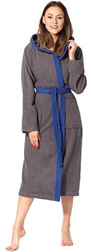 Ladeheid Damen Frottee Bademantel aus 100% Baumwolle LA40-191 (Dunkelgrau-12/Blau-28, M)