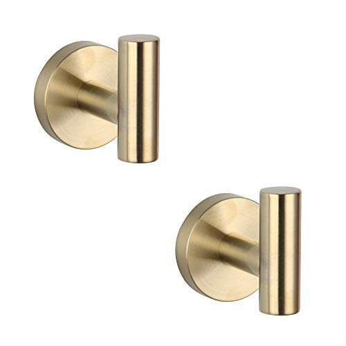 GERZWY Bathroom Brushed Gold Coat Hook SUS 304 Stainless Steel Single Towel/Robe Clothes Hook for Bath Kitchen Contemporary Hotel Style Wall Mounted 2 Pack,AG1107B-BZ