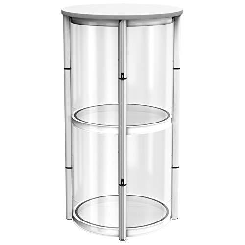 Vispronet® Vitrinen Counter ✓ Mobil ✓ faltbar ✓ Weiß, Transparent ✓ Rund ✓ Aussteller ✓ Stehpult ✓ inkl. Transporttasche