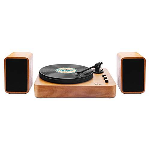 Plattenspieler,VOKSUN Bluetooth Schallplattenspieler Vinyl Plattenspieler Turntable mit Magnetpatrone und Zwei 15-Watt Lautsprecher Riemenantrieb Aux-In RCA 33/45/78 U/min - Naturholz