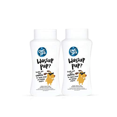 Captain Zack Wassup Pup? - 50ml Sulphate Free Shampoo for Puppies, Sensitive Dogs or Dogs with Delicate & Dry Skin, Soothes Itchy Skin, Natural Deodorizer|Paraben Free, Vegan & Cruelty Free| Pack of 2
