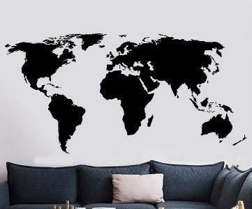 Vinilo Adhesivo Mapa Mundo Negro Decoracion caravanas, autocaravanas, Camiones, Furgonetas, escaparates, Habitaciones. Exterior e Interior 1.15 x 60 cm de CHPYHOME