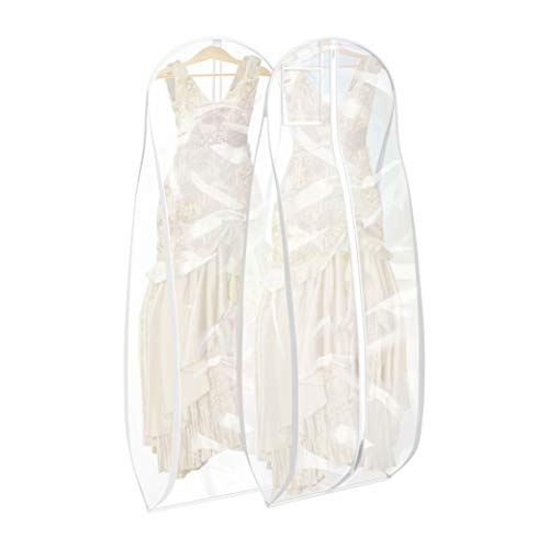 Bags for Less Clear Wedding Gown Garment Bag 20 inch Gusset, Durable, Rip...