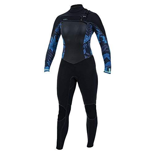 O';Neill Dames Psycho Tech 5/4 5/4+mm Wetsuit met Chest Zip Zwart Blauw Faro - 360 Barrière met Drainholes - Dubbele Super Seal Neck