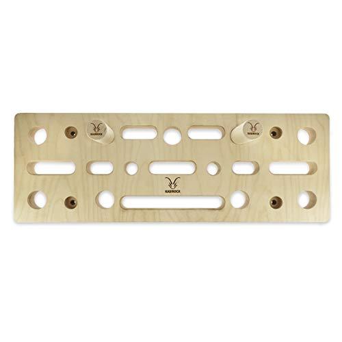 KASIROCK Comboboard Pegboard Fingerboard, 9 Steckplätze für Rundstäbe und 10 Fingerlöcher für Verschiedene Griffe, 60 x 21 x 4 cm Standard-Set inkl. 2 Rundholzstäbe Wandschutz und Montagematerial…