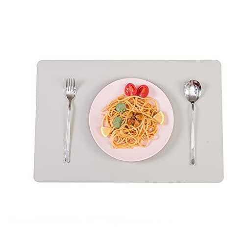 FUFRE Juego de 6 Mantel Individual Lavable Antideslizante Impermeables Salvamanteles Individuales PVC, Estera de Mesa de Aislamiento para Mesas de Cocina, Restaurantes y Hoteles (Gris Beige)