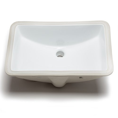 Hahn Ceramic VC008 Large Rectangular Ceramic Bathroom Sink, White