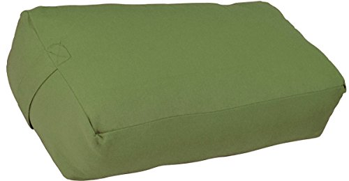 YogaAccessories Supportive Rectangular Cotton Yoga Bolster (Sage)