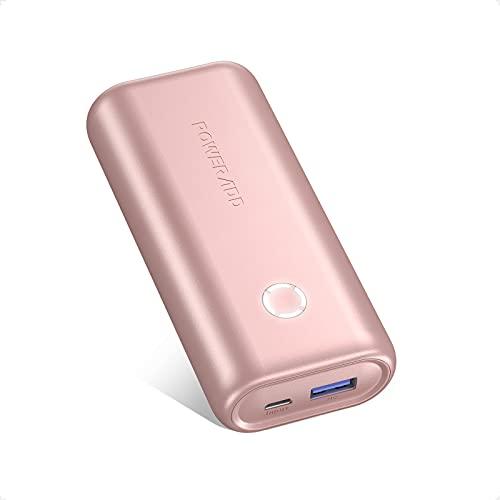Mini Powerbank, POWERADD EnergyCell 10000mAh USB Power Bank Kompakter Externer Akku Leichtes Tragbares Ladegerät für Handy, iPhone iPad Samsung Galaxy Huawei und Andere Smartphones-Pink