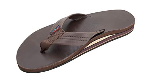 Rainbow Sandals Men's Premier Leather Double Layer With Arch Wide Strap, Mocha, Men's XX-Large / 12-13.5 D(M) US