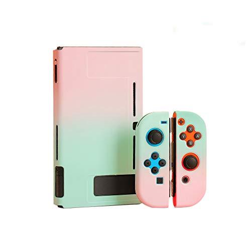 スイッチ ケース 分体式 Nintendo Switch カバー 薄型 Joy-Con用 親指キャップ ニンテンドースイッチ カバー 指紋防止 全面保護 ニンテンド ケース (セット, ピンクーグリーン)