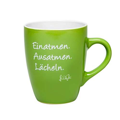 Lepajo Kaffeetasse mit Spruch Grün: Einatmen. Ausatmen. Lächeln. Farbenfrohe Tasse, Kaffeetasse oder Teetasse, das besondere Geschenk