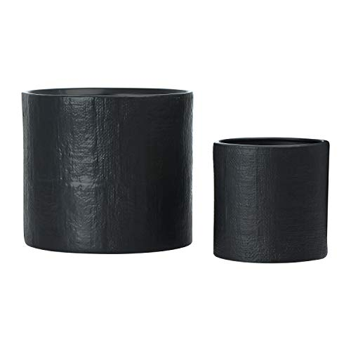 Main + Mesa Stoneware Ceramic Planters, Indoor Outdoor Flower Plant Pot, Set of 2 Includes 7.25' x 7.25' and 11.25' x 10', Black