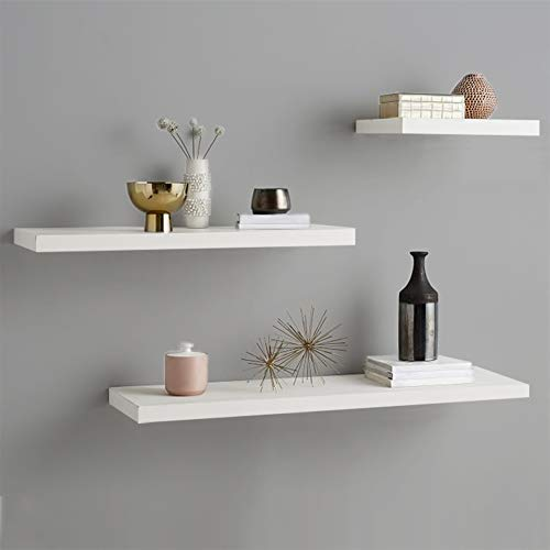 Floating Shelves, White Floating Shelve for Wall, Floating Book Shelf Wall Mounted Organizer rack,Wooden Decorative Hanging Display Shelf Home Storage Organizer with invisible Brackets