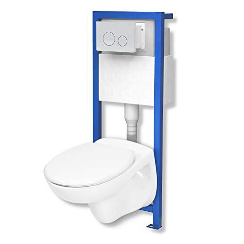 Domino Lavita Vorwandelement inkl. Drückerplatte + Basic-Pro Wand-WC ohne Spülrand + WC-Sitz mit Soft-Close Absenkautomatik Drückerplatte OW (weiß)