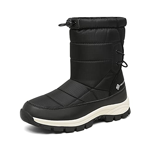 DREAM PAIRS Womens DSB216 Winter Snow Boots Waterproof Mid Calf LightweightWarm Fashion Boot Black Size 8