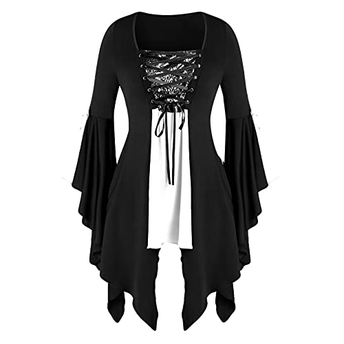 Gothic Butterfly Sleeve Tops for Women Halloween Blouse Flowy Lace Up Medieval Renaissance Corset Shirts White