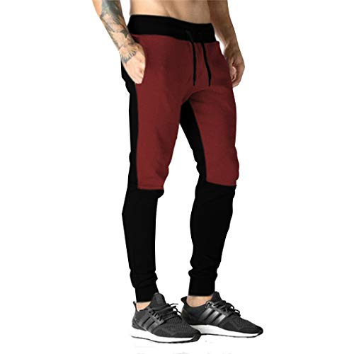 THE ARCHER Men's Cotton Jogger and Track Pants (Maroon, Large)