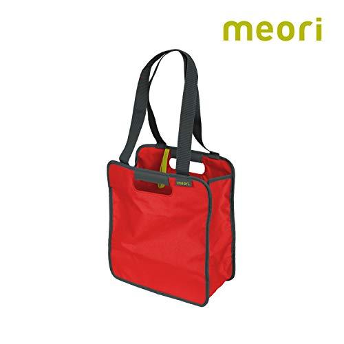 Faltbare Einkaufstasche S Hibiscus Red/Uni 32x15,5x37cm abwischbar stabil Polyester platzsparend Reißverschluss Freizeit Urlaub Shoppingtour