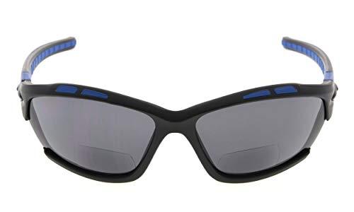 Eyekepper TR90 Sports Gafas de sol bifocales Béisbol Running Fishing Conducción Golf Softball Senderismo mate negro-azul marco gris lente +2.25