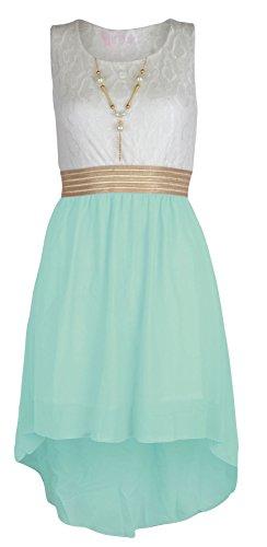 NOROZE Mädchen ärmellos Taille Band Chiffon asymmetrischen Kleid mit Halskette