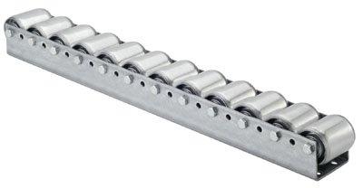 Torwegge 1 Meter Palettenrollschiene, verzinkt, Profil zweireihig, 3 mm stark, Rolle Durchm. 50 mm, Traglast 150 kg, Bauhöhe 67 mm, Achsabstand 182 mm