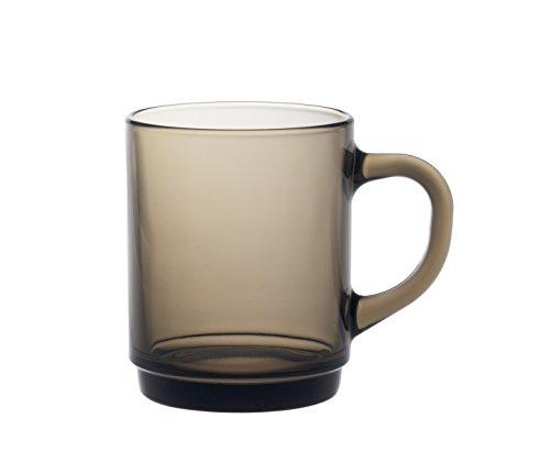 Duralex 4020CR06A1111 Versailles Kaffeetasse, Kaffeebecher, 260ml, Glas, braun, 6 Stück