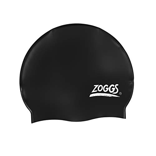 Zoggs Adult Silicone Swimming Cap with Embossed Non-Slip Inner Surface, Black, One Size