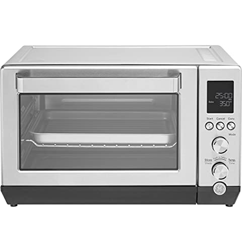 GE G9OCAASSPSS Calrod Convection Toaster Oven, Large Capacity Fits 9x11, 7 Cook Modes, Includes Baking Rack, Pan, Tongs & Drip, Stainless Steel
